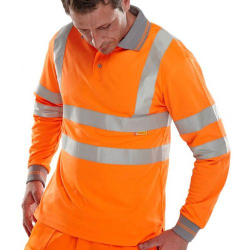 BSeen Hi Vis Orange Long Sleeve Polo Shirt
